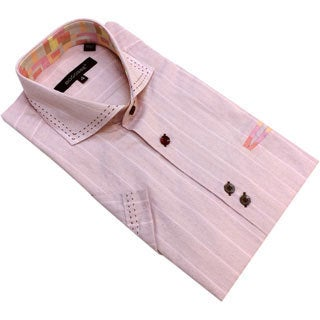 Bogosse Men's Pink Striped Short Sleeve Button-down Shirt