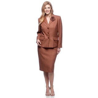 Le Suit Plus Size 3-button Wing Collar Herringbone Skirt Suit