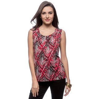 Kasper Rain Drops Top Stitch Pleat Neck Top