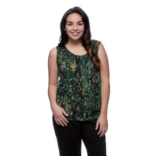 Kasper Women's Plus Size Teal Animal Print Topstitch Pleat Neck Top