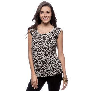 Kasper Cheetah Print Extend Cap Sleeve Pleat Neck Top