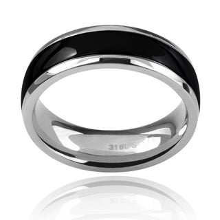 Vance Co Men's Stainless Steel Black Inlaid Band