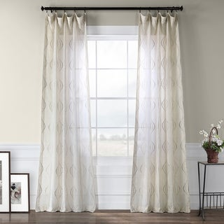 Suez Embroidered Faux Linen Sheer Curtain Panel