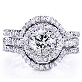 Annello 14k White Gold 1 5/8ct TDW Round-cut Diamond 3-Piece Bridal Ring Set (G-H, I1-I2)