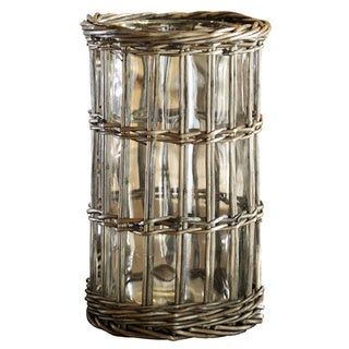 10-inch Rattan and Glass Vase/ Hurricane (Pack of 4)