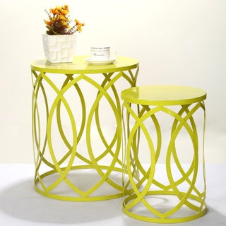 Adeco Interlocking Oval Pattern Light Yellow-green Round Iron Nesting Tables/ Stools (Set of 2)
