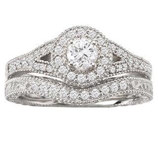 Avanti 14k White Gold Split Shank Halo Vintage Diamond Bridal Ring Set (G-H, SI1-SI2)