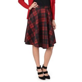 Hailey Jeans Co. Junior's Plaid A-line Midi Skirt