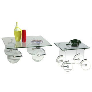 Somette Glass Caster Cocktail Table
