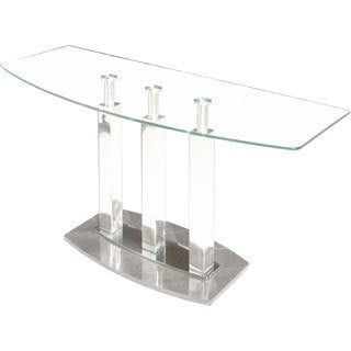 Somette Clear Glass/ Marble Black Sofa Table