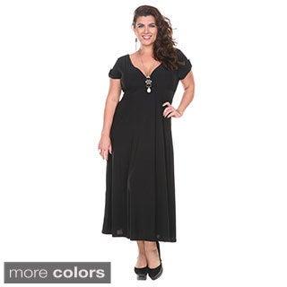 Stanzino Women's Plus Size V-Neck Elastic Waist Maxi Dress