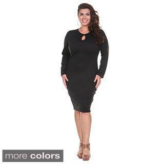 Stanzino Women's Plus Size Long Sleeve Knee Length Curvy Dress