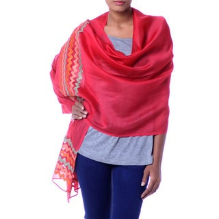Handcrafted Cotton Silk 'Zigzag Red' Shawl (India)