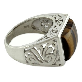 Handcrafted Men's Sterling Silver 'Warmth' Tiger's Eye Ring (India)