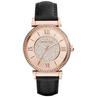 Michael Kors Women's MK2376 Glitz Round Black Strap Watch