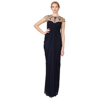 Tadashi Shoji Women's Blue Short Sleeve Jeweled Neckline Evening Gown Dress