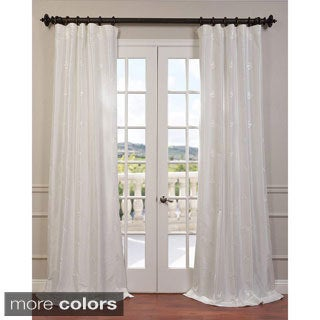 Trophy Embroidered Faux Silk Taffeta Curtain Panel