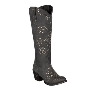 Lane Boots Women's Black Leather Studded Cowboy Boots