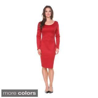 Stanzino Women's Missy Solid Long Sleeve Midi Dress