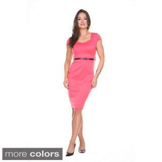 Stanzino Women's Square Neck Belted Bodycon Dress