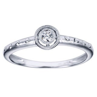 14k White Gold Diamond Accent Halo Promise Ring (H-I, I1-I2)
