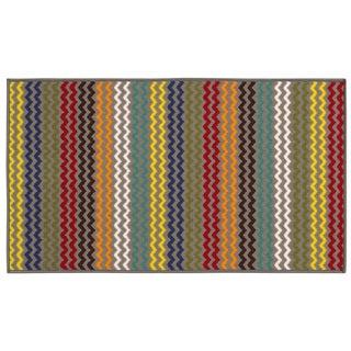 Chevron Youth Loop-pile Grey/ Multi Rug (2'2 x 3'9)