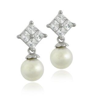 Glitzy Rocks Sterling Silver Cubic Zirconia Faux Pearl Dangle Earrings