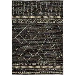 Updated Old World Tribal Black/ Beige Rug (5'3 x 7'6)