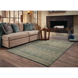 Abstract Tribal Relief Blue/ Beige Rug (6'7 x 9'1)