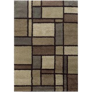 Geometric Block Shag Beige/ Midnight Rug (7'10 x 10'10)