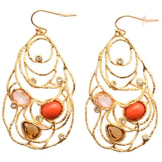 De Buman 18k Goldplated Crystal and Red Coral Dangle Earrings