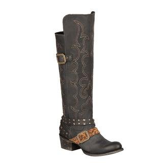 Lane Boots Women's 'Julie' Black Leather Cowboy Boots