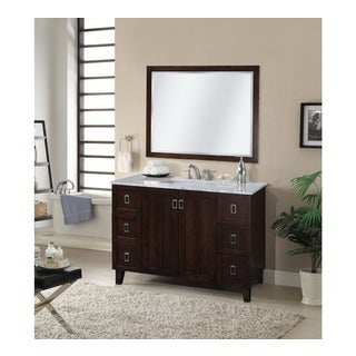 48-inch Carrara White Marble Top Single Sink Bathroom Vanity