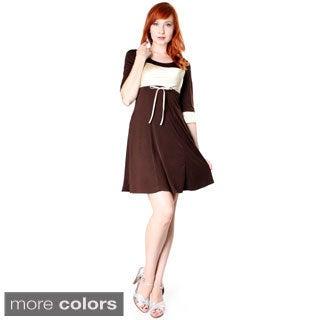 Evanese Women's Short Colorblock 3/4 Sleeve Dress