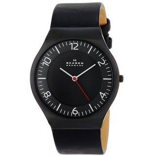 Skagen 'Grenen' Men's Black Ion Plated Stainless Steel and Leather SKW6113 Watch