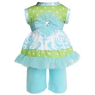 AnnLoren Boutique Blue Damask/ Polka Dot Dress and Capri Doll Outfit