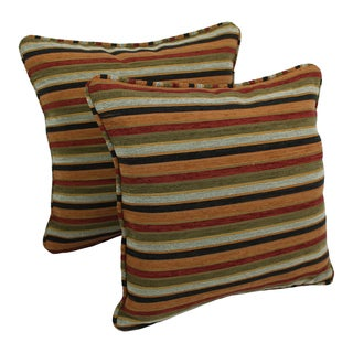 Blazing Needles 18-inch 'Cadillac' Jacquard Chenille Square Throw Pillows with Inserts (Set of 2)