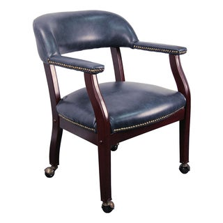 Offex Navy Vinyl Luxurious Conference Chair with Casters