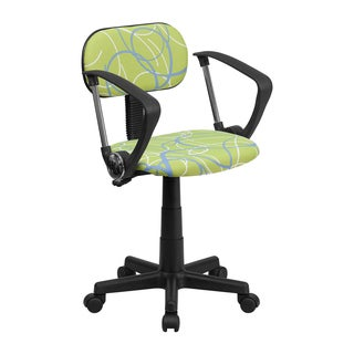 Offex Blue and White Swirl Green Computer Chair with Arms