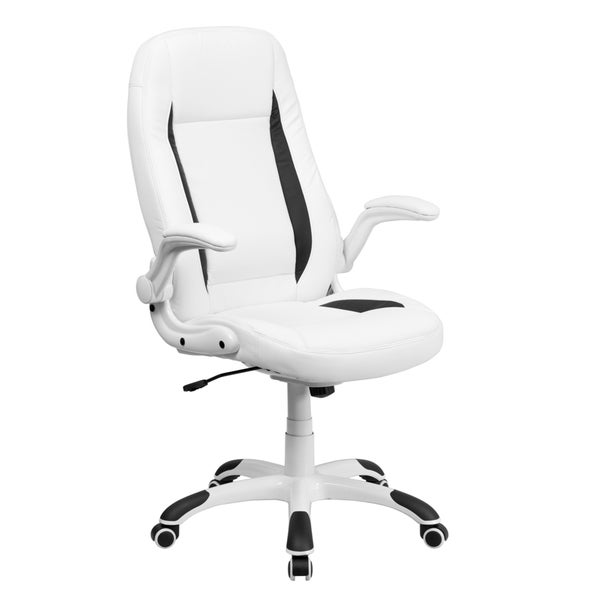 offex high back white leather executive office chair with
