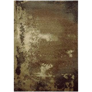 Abstract Shag Tan/ Grey Rug (5'3 X 7'6)