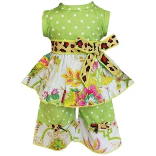 AnnLoren Floral Dots and Leopard Dress 2-piece Doll Outfit