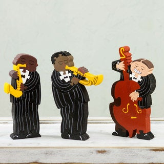 Handcrafted Wood 'Jazz Band' Display Jigsaw Puzzle (Mexico)