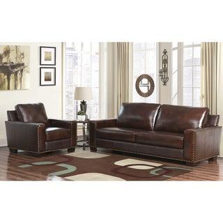 ABBYSON LIVING Barrington Hand-rubbed Top-grain Leather Sofa and Armchair