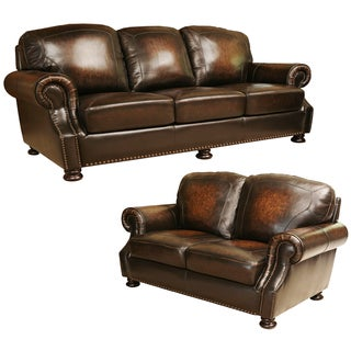 ABBYSON LIVING Sienna Hand Rubbed Top Grain Leather Sofa and Loveseat