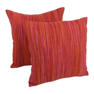 Blazing Needles 20-inch Red Palette Striped Throw Pillows (Set of 2)