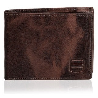 Suvelle Men's Antique Leather Bi-fold Wallet