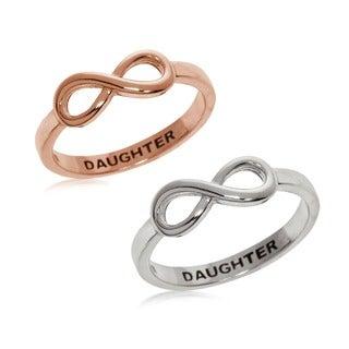 Eternally Haute Sterling Silver Daughter Infinity Ring