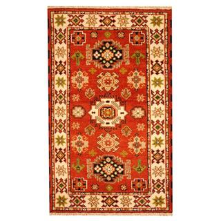 Herat Oriental Indo Hand-knotted Tribal Kazak Rust/ Ivory Wool Rug (3' x 5')