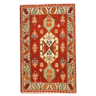 Herat Oriental Indo Hand-knotted Tribal Kazak Burgundy/ Green Wool Rug (3'2 x 5')